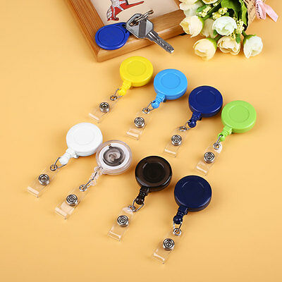 5Pcs Retractable ID Card Holder Key Chain Name Tag Reels with Belt Clip