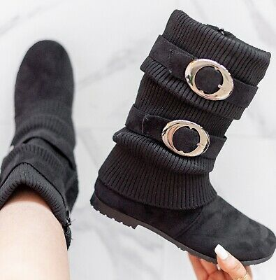 e1acc9ae6e5adc Womens New Ladies Flat Work Mid Calf Winter Pixie Zip Riding Boots Size 3-7