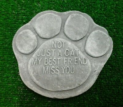 Cat Large Pet Memorial/headstone/stone/grave marker/memorial paw print 2 grey