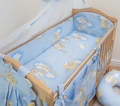 5 Piece Baby Cot Bedding Set With 4 sided Bumper to fit 120x60 cm - Pattern 4