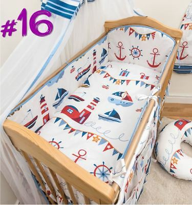 5 Piece Baby Cot Bedding Set With 4 sided Bumper to fit 120x60 cm - Pattern 16