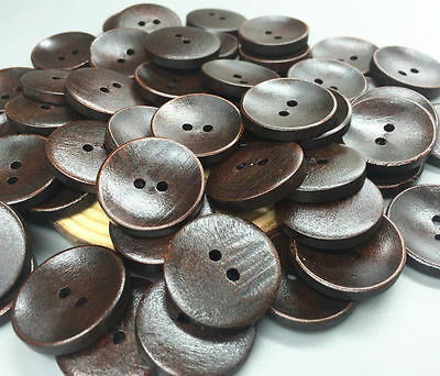 40pcs Wooden buttons sewing scrapbooking 2-Holes round decoration crafts 25mm