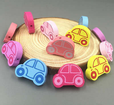 50PCS Wooden Car shape Loose Beads craft beads Necklace Make Accessories 25mm
