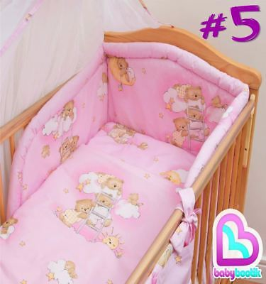3 Piece Bedding Set with Thick Bumper for 140x70 cm Baby Cot Bed - Pattern 5