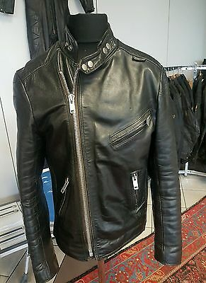 Belstaff Vintage Ace Black Leather Jacket Cafe Racer Motorcycle Biker Old School