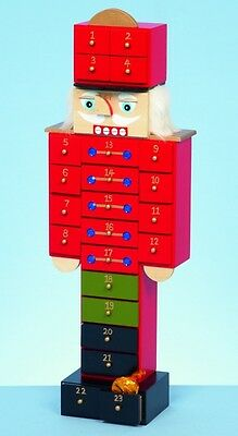 Premier Large Wooden Christmas Countdown Nutcracker Advent Calendar 47cm 24 Days