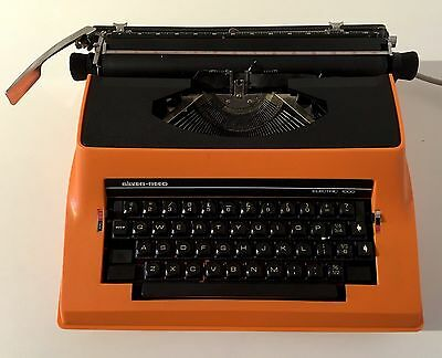 70S 80S Vintage Retro Silver Reed Orange Electric Typewriter Hard Carry Case