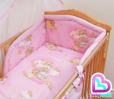 5 Piece Bedding Set with Thick Bumper for 140x70 cm Baby Cot Bed - Pattern 5