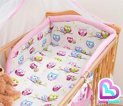 6 Piece Bedding Set with Thick Bumper for 140x70 cm Baby Cot Bed - Pattern 23