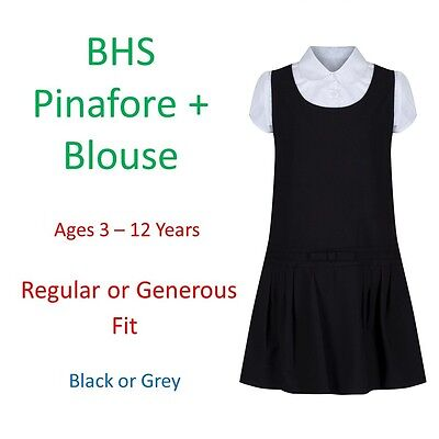 BHS Girls School Pinafore Dress Blouse Age 3-12 Grey Black Generous Sturdy Fit