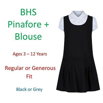 BHS Girls School Pinafore Dress + Blouse Outfit Age 3-12 Grey Black Generous Fit