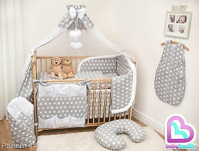 10 Piece Baby Bedding Set with Thick Bumper for 120x60 cm Cot - Pattern 14
