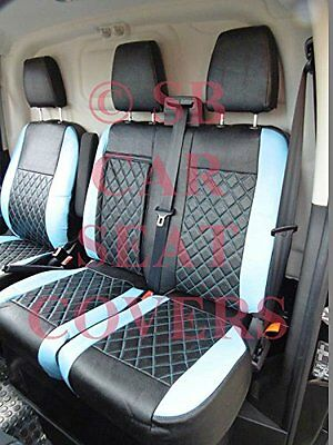 To Fit A Ford Transit Custom Flat Bed Van, Seat Covers, Bl / Bk Bentley Diamond