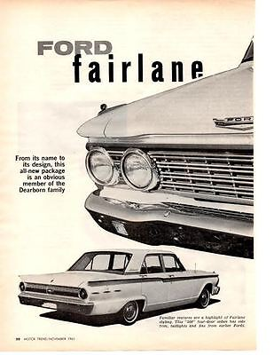1962 Ford Fairlane ~ Original 4-Page New Car Preview Article / Ad