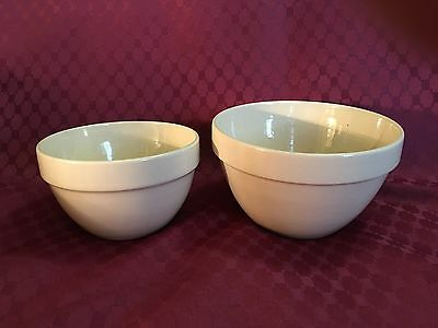 Vintage Set Of Two Mixing Bowls Cream Made In Romania Gc