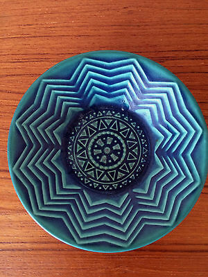Vintage DISH PURBECK Pottery Robert Jefferson MID CENTURY Poole Blue/Green POOLE