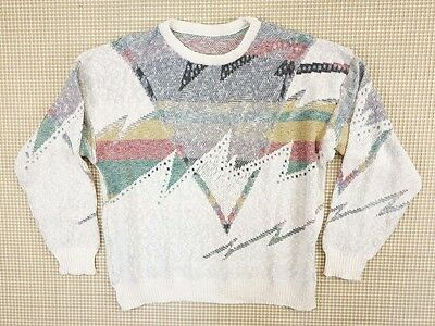 Jumper 80s 90s oversize L unisex cosby abstract geometrical crazy  (EJ248)
