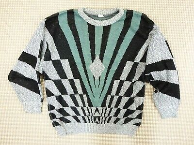 Jumper 80s 90s oversize L unisex cosby abstract geometrical crazy  (EJ276)