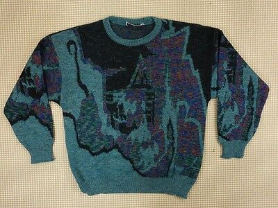 Jumper sweater 80s 90s oversize S unisex cosby abstract geometrical  (EJ420)