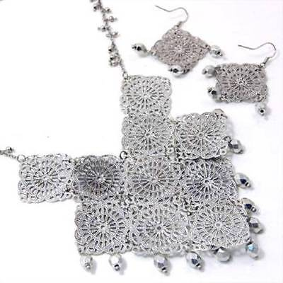 "17"" Bib Chandelier Chain Rhodium Plated Necklace Lobster Clasp Fish Hook Earring"