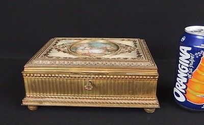 Antique French Gilt Brass Jewelry Box W Miniature & Mother of Pearl C1900