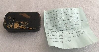 Antique Oriental Black Lacquered Snuff Box With Personalised Note Inside