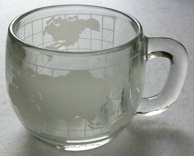 NESTLE NESCAFE FROSTED ETCHED GLASS WORLD GLOBE COFFEE / TEA CUP Good Condition