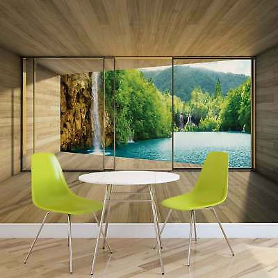 WALL MURAL PHOTO WALLPAPER XXL Window Waterfall Lake Mountains Forest (3314WS)