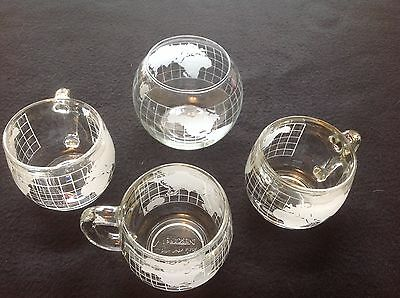 Vintage Coffee Nestle Nescafé Glass Globe World Lot of 3 Mugs + Sugar Bowl