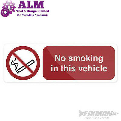 No Smoking In This Vehicle Sign 150x50mm Self-Adhesive Sticker
