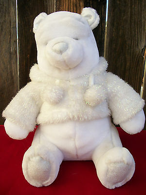 "White Disney Winnie The Pooh 12"" Snowflake Pals stuff doll toy Christmas Holiday"