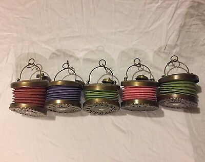 5 Vintage Looking Accordion Brass And Fabric Lantern Candle Holder
