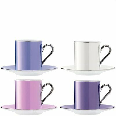 LSA Polka Coffee Cup & Saucer 0.1L - Pastel Assorted - Set of 4