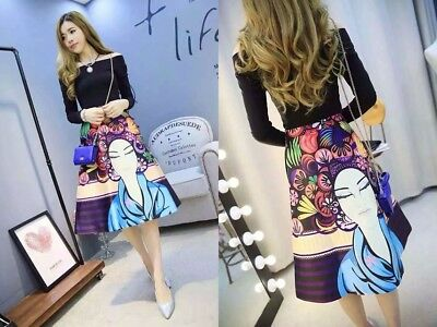 Street Designer Clothing Set Women's Black Slash Collar Blouse Colorful Skirt