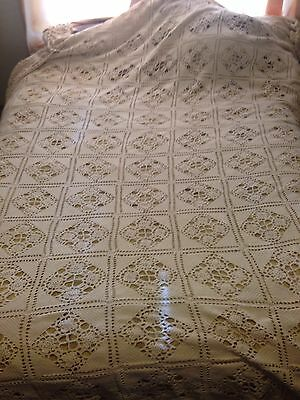 "Gorgeous Cotton Handmade Vintage Crochet Bedspread Coverlet 125""x 112"