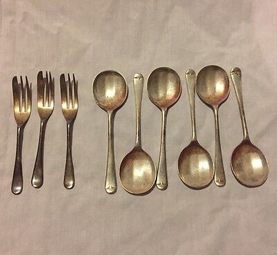 Sheffield England EPNS A1 90 Set of 6 Fruit Spoon and 3 Dessert Forks
