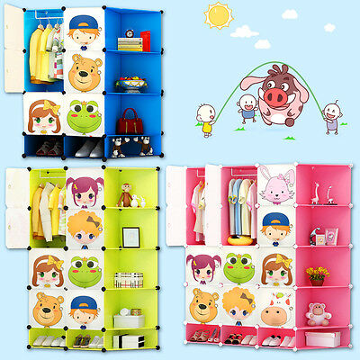 Kids Childrens Wardrobe Storage Box Character Design Cubes Shoes Corner Storage