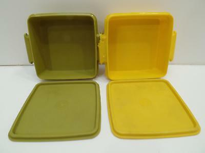 Tupperware Harvest Yellow Green Square Away Sandwich Keepers Vtg Lot 4 Stackable