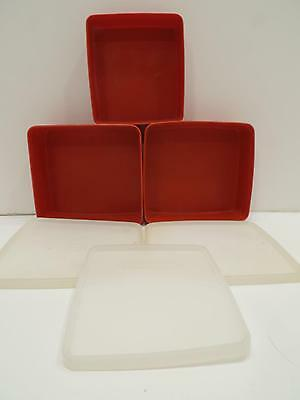 Tupperware Red/Sheer Square A Way Sandwich Keeper Storage Lids Paprika Vtg Lot 6