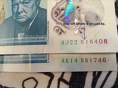 New Five Pound Note £5 Early Misprint with Multiple Errors (RARE) AK and AJ