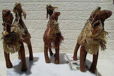 Set of 3 Wise Men riding leather camels desert themed! Collectible!