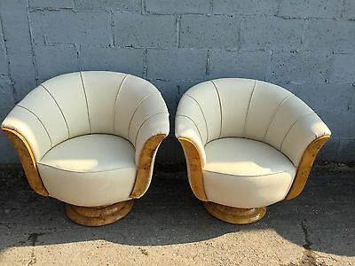 Rare, Art Deco, Contemporary, Walnut, Leather, Mid-century Pair Chairs