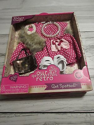 New! Our Generation Get Spotted! Outfit Fits 18 in (46cm) Dolls - Pearls, Purse