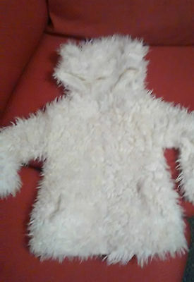 GIRLS IVORY  WINTER LINED HOODED   FLUFFY FUR JACKET   3/4yrs