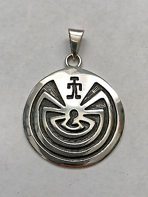 Sterling Silver Medium Hopi Style Engraved Man in the Maze Round Circle Pendant