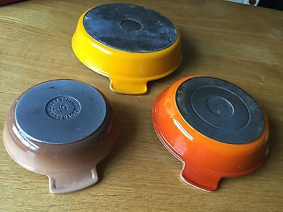 3 Vintage Cousances Le Creuset Cast Iron Enamelled Baking Dishes 15 18 22 cm