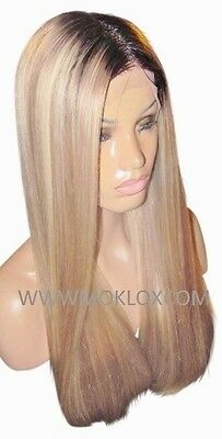 """Remy Human Hair Wig Front Lace 22"""" Long Ash Blonde Brown 3 9 60 Roots Moklox UK"""