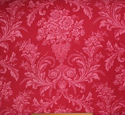Antique c1870 French Victorian Red Romantic Printed Cotton Fabric~Roses & Vases