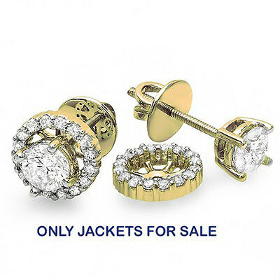 410420b645b69 10K YELLOW GOLD Round White Diamond Removable Jackets For Stud ...