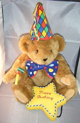 """HAPPY BIRTHDAY Authentic Vermont Jointed Teddy Bear Honey Light Brown 15"""" + Acc"""